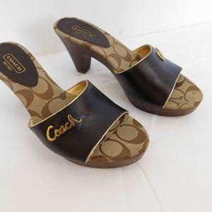 Coach Shoes - COACH KATHIE WOODEN HEELS SANDALS
